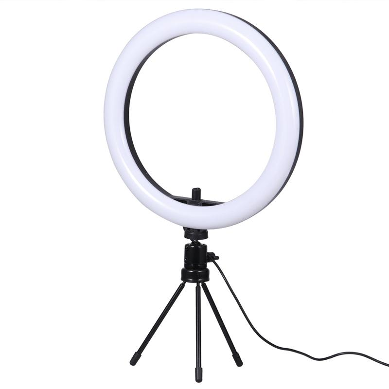 cheapest Photography makeup mirror LED Selfie Light 22CM Dimmable make up Camera Phone Lamp Table Tripods phone holder stand USB Cable