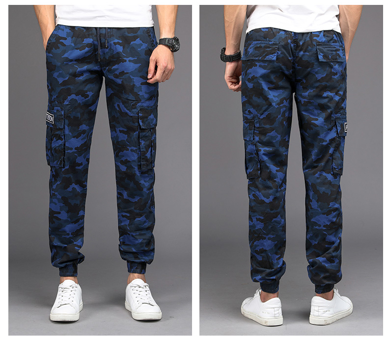 KSTUN Camouflage Casual Pants Men Joggers Men's Trousers Drawstring Sweatpants Male Large Size Blue Military Army Cargo Pants Men Boys 19