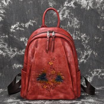 Genuine Leather Women Backpack Cowhide Female Girl Travel Bag High Quality Vintage Coffee Red Black Flower Pattern M80055