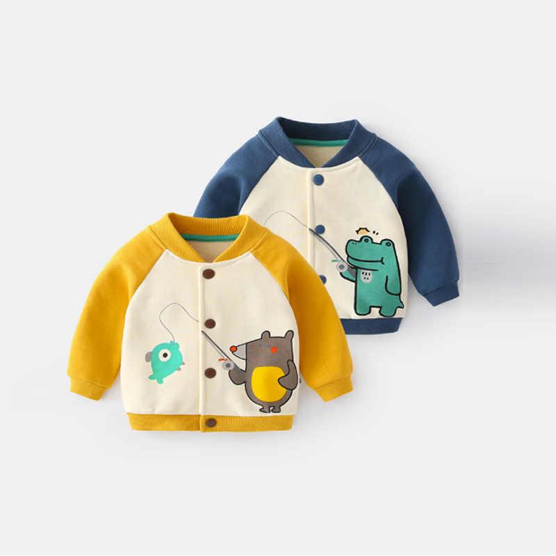 Весенне-осенняя одежда для маленьких мальчиков; свитер; Верхняя одежда для новорожденных; одежда для маленьких мальчиков; повседневная спортивная бейсбольная Толстовка; куртка; пальто
