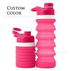 Codzienne użytkowanie dom handlowy w nowym stylu silikonowe kubki składane 550ml przenośna podróżna butelka kreatywne prezenty Logo|Butelki sportowe|   -