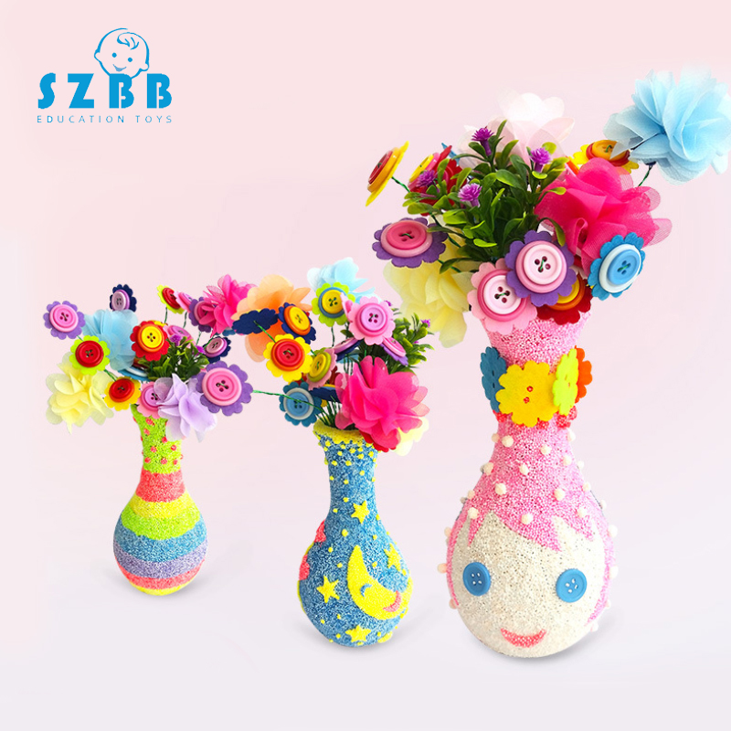 Sz Steam Children's Handmade Creation Diy Educational Toy Snowflake Mud Pearl Mud Wooden Vase White Embryo Painting Mould