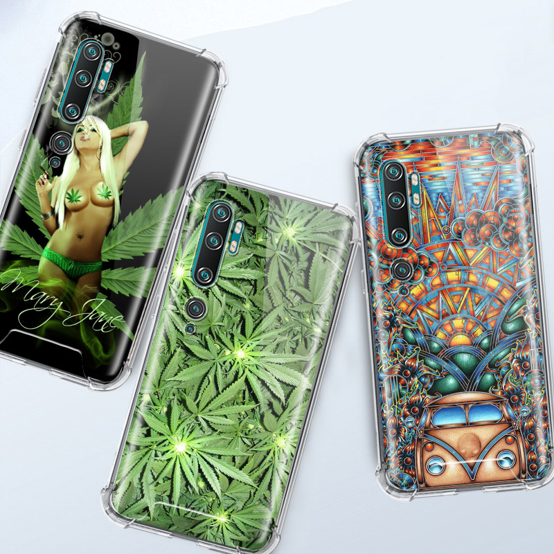 Weed Leaf Grass HUF Case For Xiaomi Mi Note 10 Pro 5G 9T A3 A2 8 Lite CC9 CC9E Poco X2 F1 Airbag Anti Cas Phone Capas