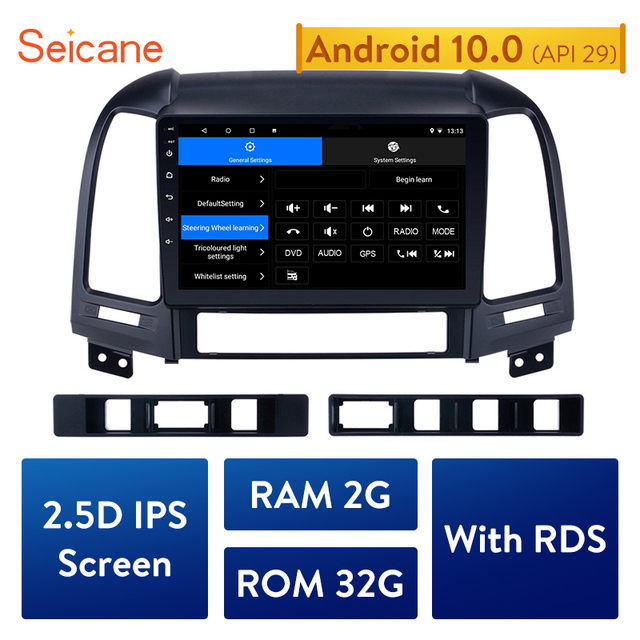 Seicane 2din Android 10.0 9 Inch Auto Multimedia Speler Gps Navi Voor Hyundai Santa Fe 2005 2006 2007 2008 2009 2010 2011 2012
