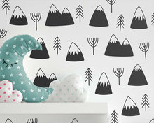 Nordic Style Mountain Tree Wall Decals Geometric Vinyl Art Stickers Children Room Modern Decorations Living