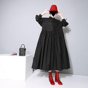 Image 2 - [EAM] 여성 붕대 활 분할 공동 Pleated 빅 사이즈 드레스 새로운 옷깃 긴 소매 느슨한 맞는 패션 조수 봄 가을 2020 1D752