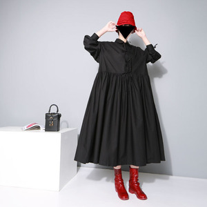 Image 2 - [EAM] Women Bandage Bow Split Joint Pleated Big Size Dress New Lapel Long Sleeve Loose Fit Fashion Tide Spring Autumn 2020 1D752