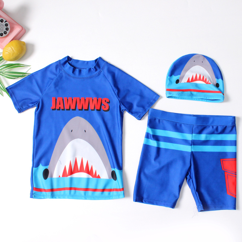 2018 Europe And America New Style Hot Sales Boy Split Swimsuit Send Swimming Cap Cartoon Sharks Ultra-stretch Quick-Dry KID'S Sw