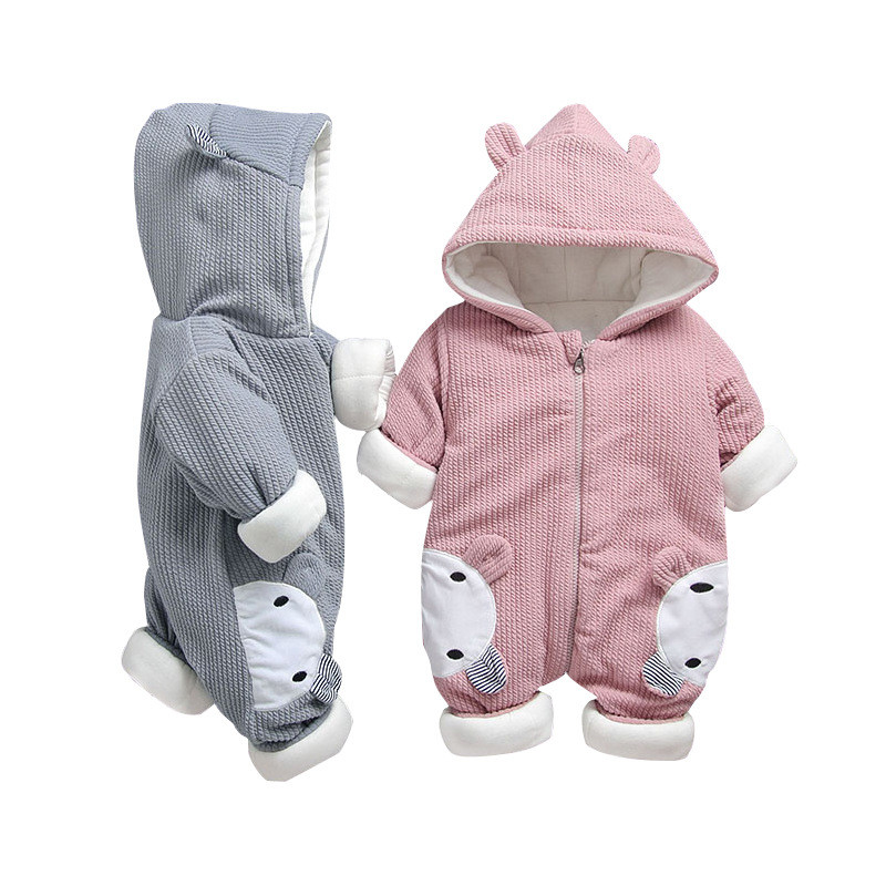 Winter Warm Newborn Baby Boy Girl Cotton Hooded Romper Jumpsuit Outfit Clothes