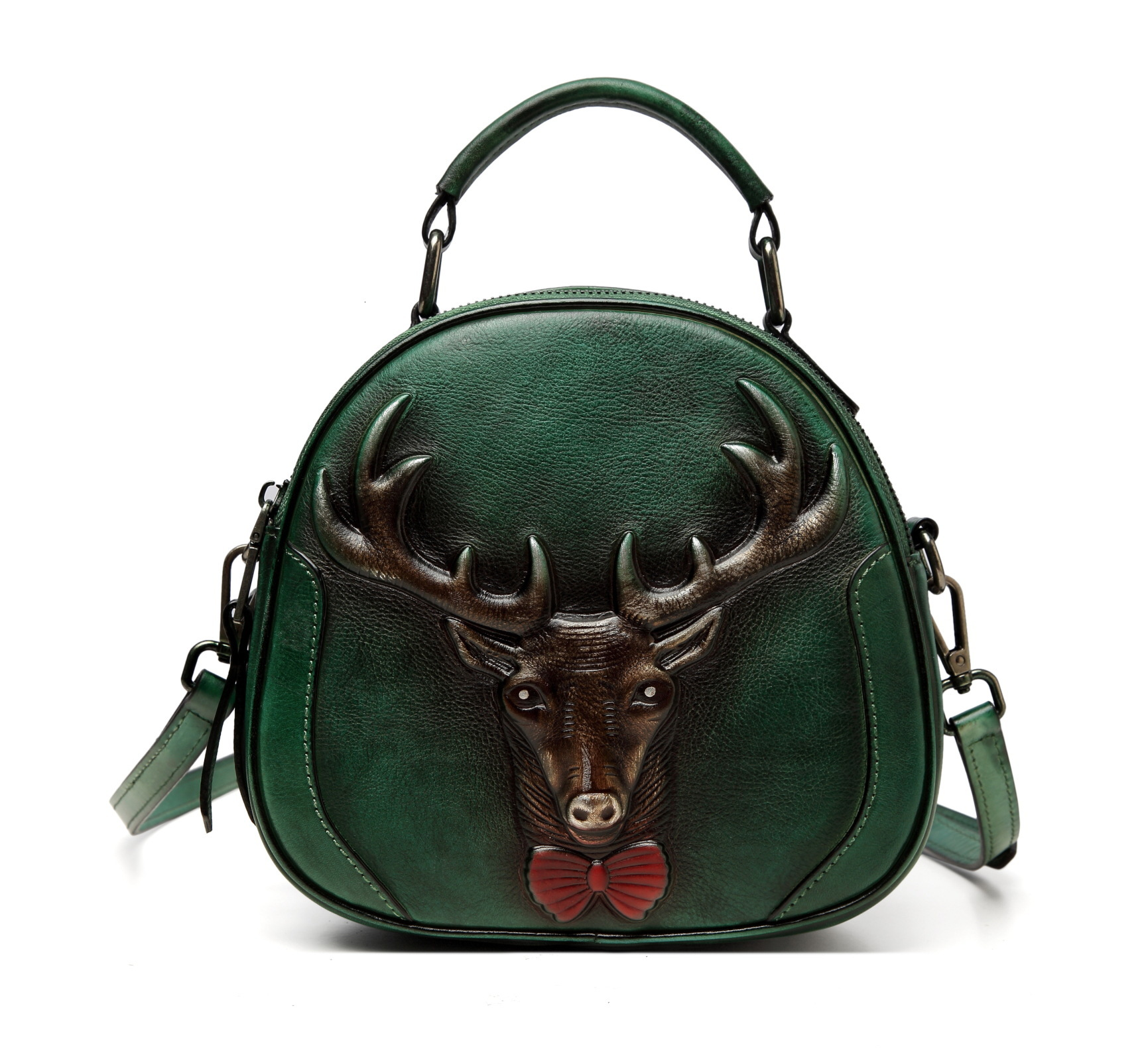 Women Embossed Top Handle Round Mini Bags Handbag Vintage Cowhide Cross Body Tote Purse Genuine Leather Messenger Shoulder Bag