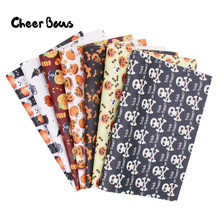 22*30cm Halloween Faux Leather Sheet Synthetic Pumpkin Candy Printed Vinyl Fabric For Bow Handmade Craft Material Supply