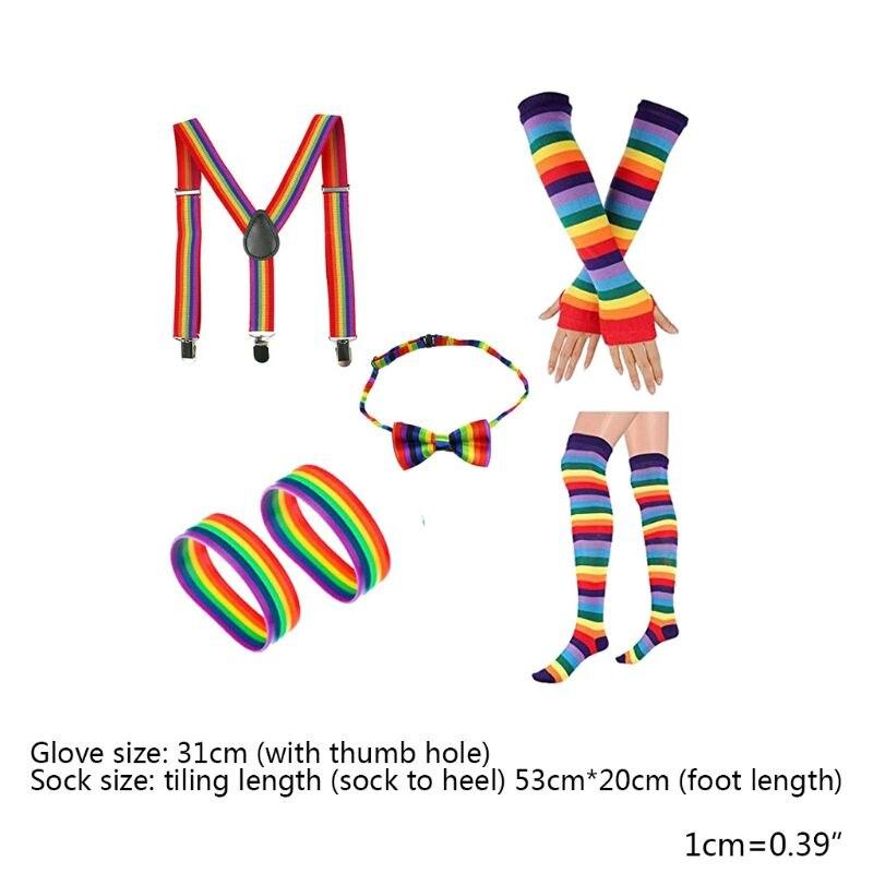 Adult Kids Rainbow Cosplay Costume Set Bowtie Suspenders Socks Gloves Bracelets LX9E