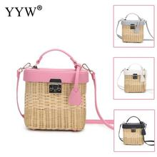 Willow Rectangle Handbag Women 2020 Summer Woven Crrossbody Bags Female White Straw Bag Travel Shoulder Tote Bolso Mujer