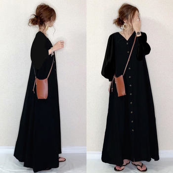 Women Dress Single-breasted Buttoned Robe Lantern Sleeves A-line V-neck Solid Color Dresses Casual Loose Japan Korean Long Dress women s chic sleeveless solid color v neck a line dress