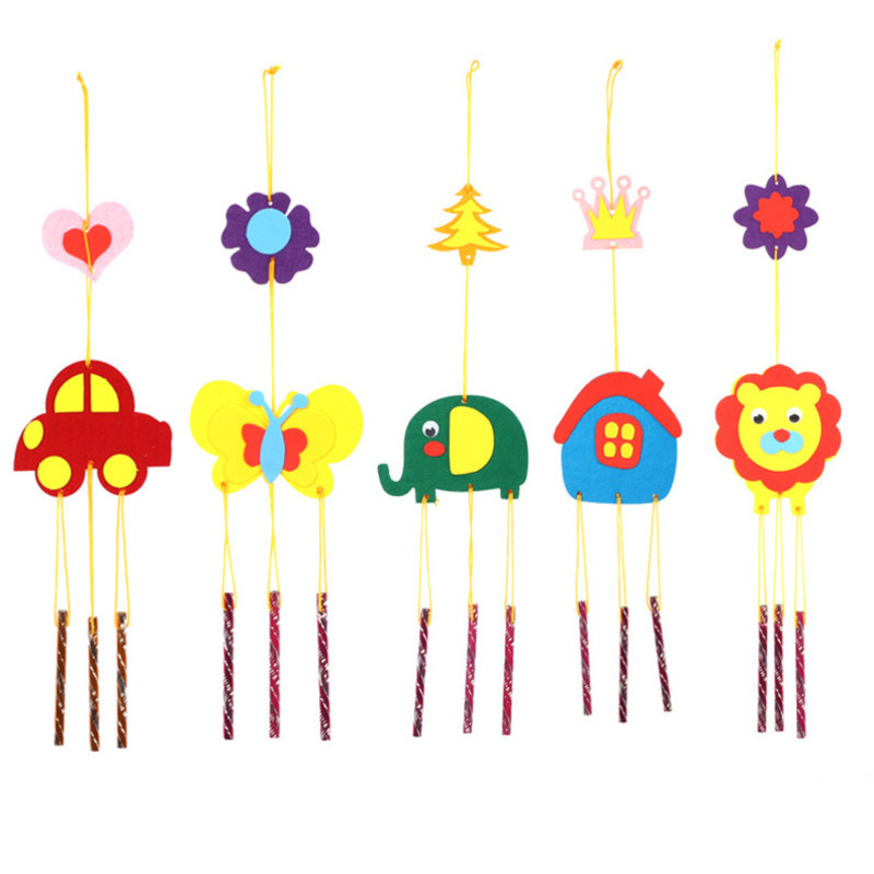 EVA Craft Toy 3D Wind Chimes Handmade DIY Toy Kits Windbell Arts & Crafts Hangings Stickers Kids Kits Birthday Educational Gift