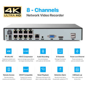 Image 4 - H.View 4K Ultra HD Video Surveillance kit 8MP poe ip camera Set 8CH Dome Security Camera CCTV System H.265 Audio Record Nvr
