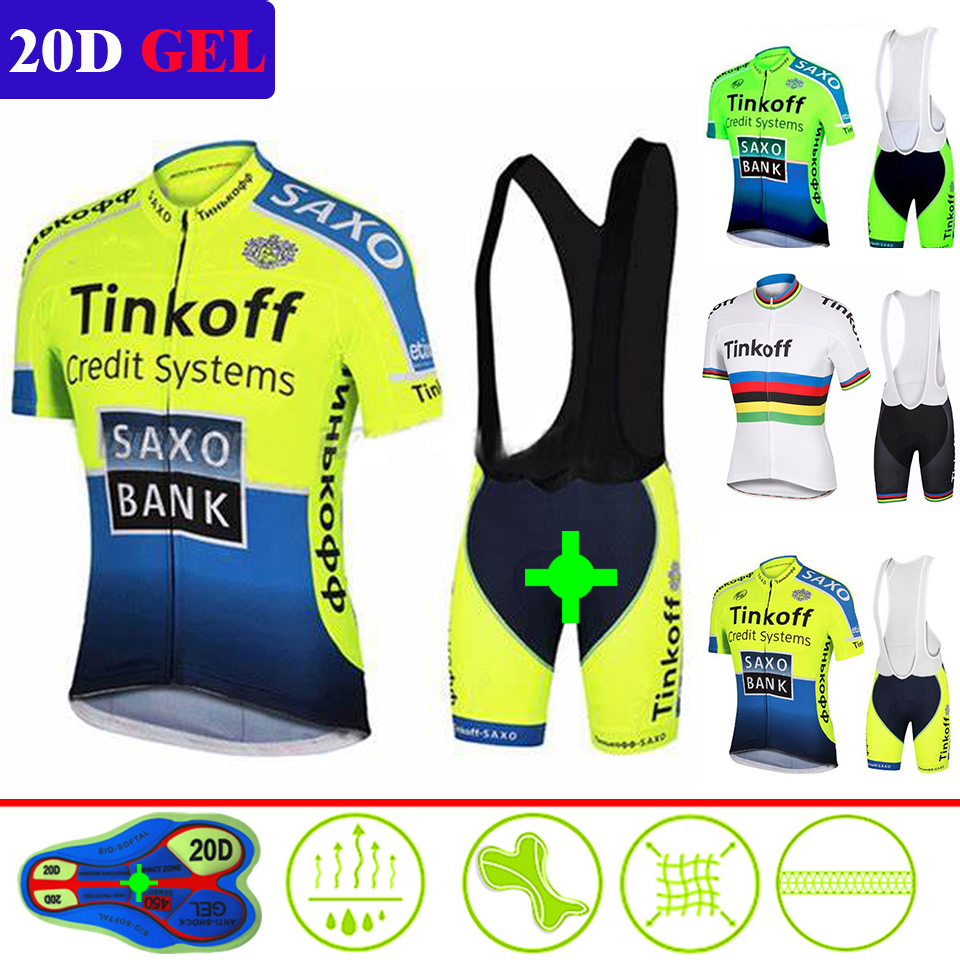 2015 Tinkoff  Fluorescent Green Cycling Team Jersey 20D Gel Pants Suit Mens Summer Quick Dry Pro Bicycing Shirts Maillot Culotte