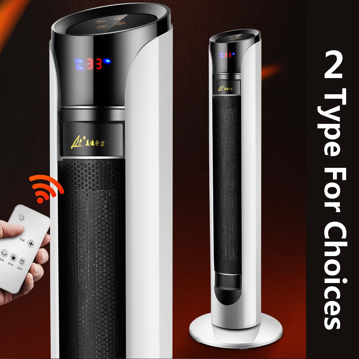 2000W 220V Electric Heater PTC AdjustableTemperature Heating Electric Heaters Home Air Warmer Tower Fan Remote Control Timing