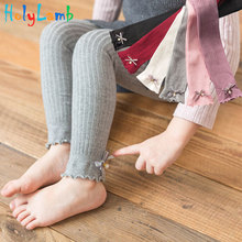 Girl Leggings Children Solid Color Knit  Autumn Winter Beads Bow Striped Girls Baby Ankle-Length Pants