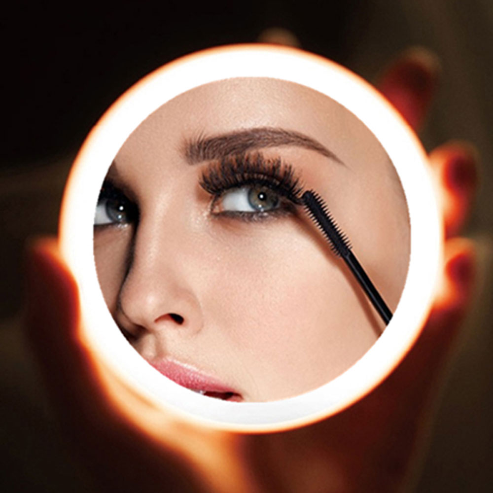 2020 Portable LED Makeup Mini Circular Cosmetic Mirror 3 Dimmable Brightness Compact Travel Mirror Wireless USB Charging 50
