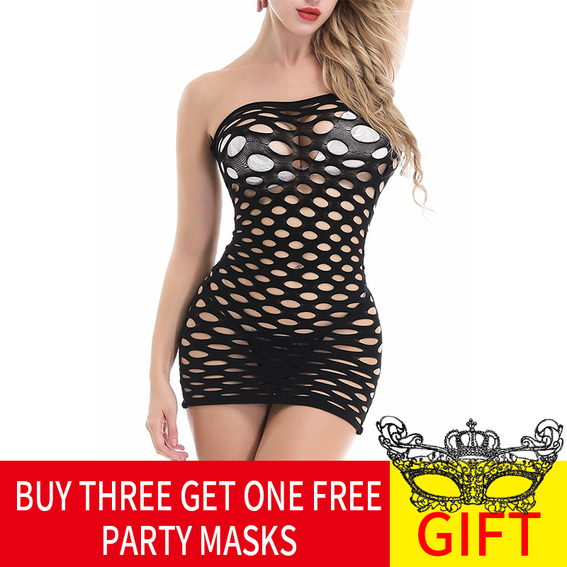 Ultimate SaleFishnet Underwear Elasticity Cotton Lenceria Sexy Lingerie Hot Women Sex Costumes For Mesh Baby Doll Dress Erotic Lingerie