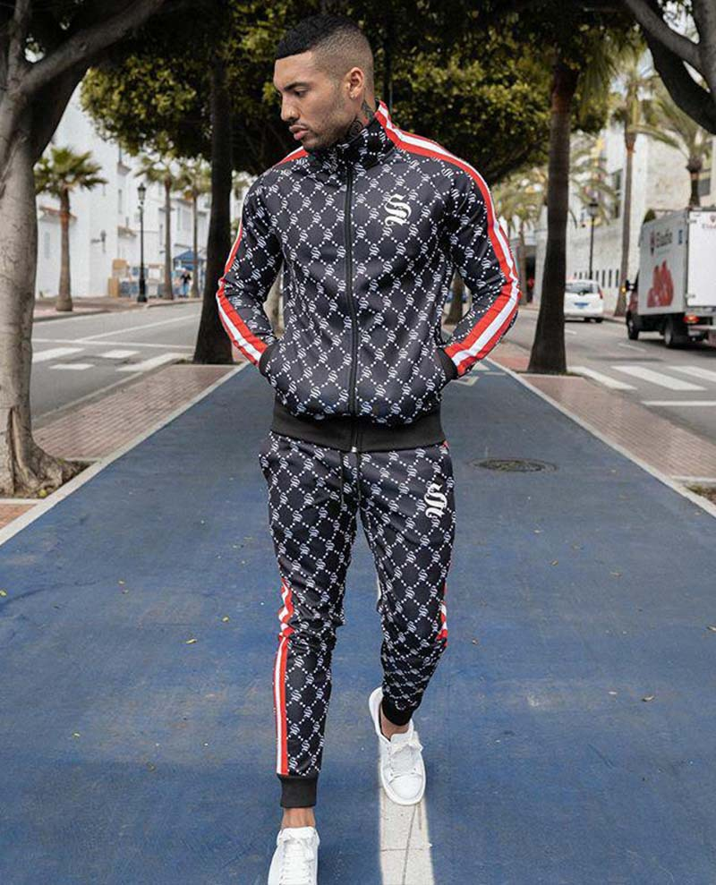 Men Suit Colorful Plaid Jogger Set Casual Zipper Set Men Tracksuit Set Sweatshirt Multi-pocket Fashion Jackets Men 2 Piece Set
