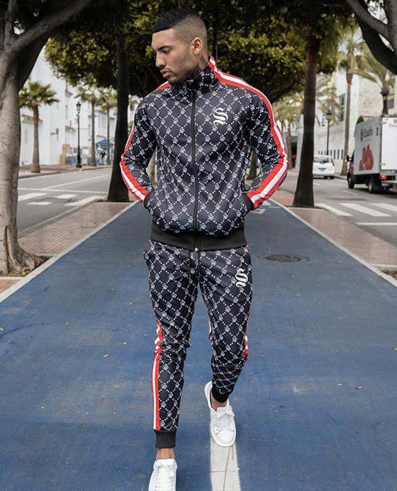 Men Suit Colorful Plaid Jogger Set Casual Zipper Set Men Tracksuit Set Sweatshirt Multi-pocket Fashion Jackets Men 2 Piece Set