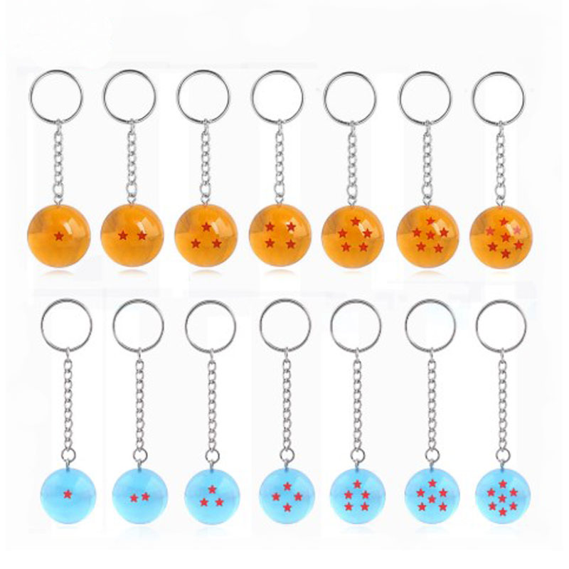 14Pcs/lot Japan Cartoons Dragon Ball Keychain Classic Four Stars Spherical Key Chain For Men Women Bag Souvenir Accessories Gift