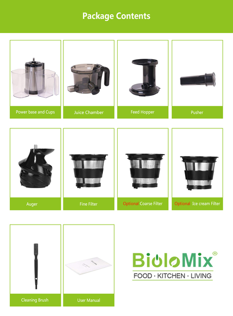 200W 40RPM Stainless Steel Masticating Slow Auger Juicer Fruit and Vegetable Juice Extractor Compact Cold Press Juicer Machine 6