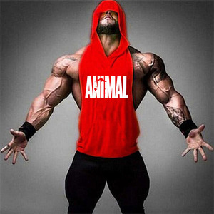Nowych mężczyzna budowy ciała koszula z kapturem bawełniany tank top siłownia tank tops Gorilla drukuj kamizelka mężczyzna treningu odzież sportowa podłużnice