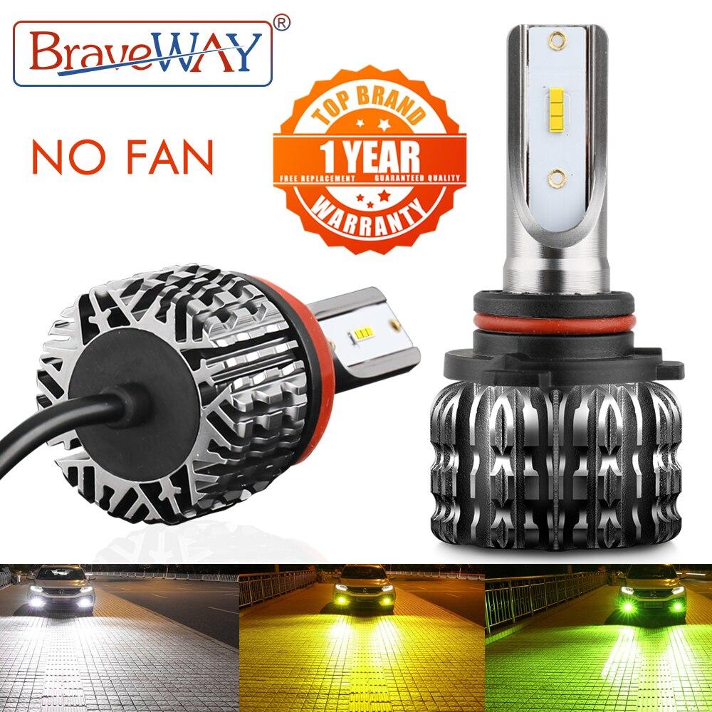 BraveWay безвентиляторный 10000LM 12V светодиодный лампы для автомобиля, мотоцикла, H4 H7 H1 H3 H8 H11 HB3 HB4 9006 H27 Противотуманные огни H3 светодиодный фар для ...