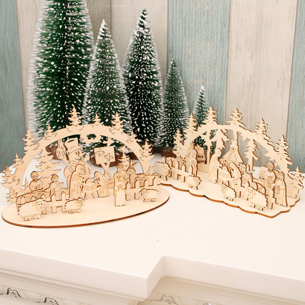 DIY Christmas Wooden Toy Xmas Funny Party Desktop Decoration Christmas Wooden Ornaments Three-dimensional Kids Toy Decoration 13