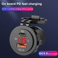 Accendisigari per auto PD 3.0 caricabatterie rapidi adattatore per presa caricatore doppio USB con voltmetro a LED e cavo 12-24V motocicli per auto