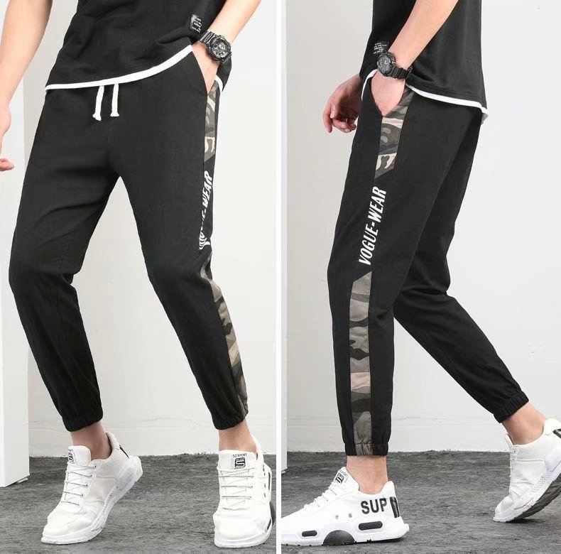 Summer Pants Men Korean-style Trend Loose Bib Overall Large Size Beam Leg Sports Casual Skinny Slim Fit Capri Pants