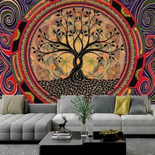 Psychedelic Tree Tapestry Mandala Wall Hanging Macrame Hippie Tapestries for Living Room Home Decor