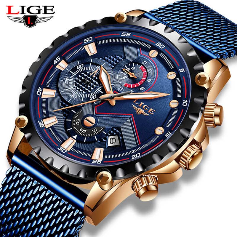 2019 Nuovo LIGE Blu casual Maglia Cinghia del Quarzo di Modo Orologio D'oro Mens Orologi Top Brand di Lusso Orologio Impermeabile Relogio Masculino