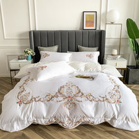 AB Washed Silk Pure Cotton Embroidery Solid 4 Pcs Duvet Cover Pillowcase bedspread Pillowcases White Blue Purple Green Bed Set