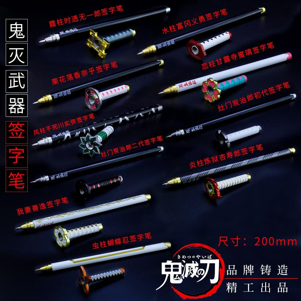 1pcs Anime Demon Slayer Kimetsu No Yaiba Gel Pen Kamado Tanjirou Nezuko Ballpoint Pen 0.5 Black Refill Pens Weapon Sword Sword