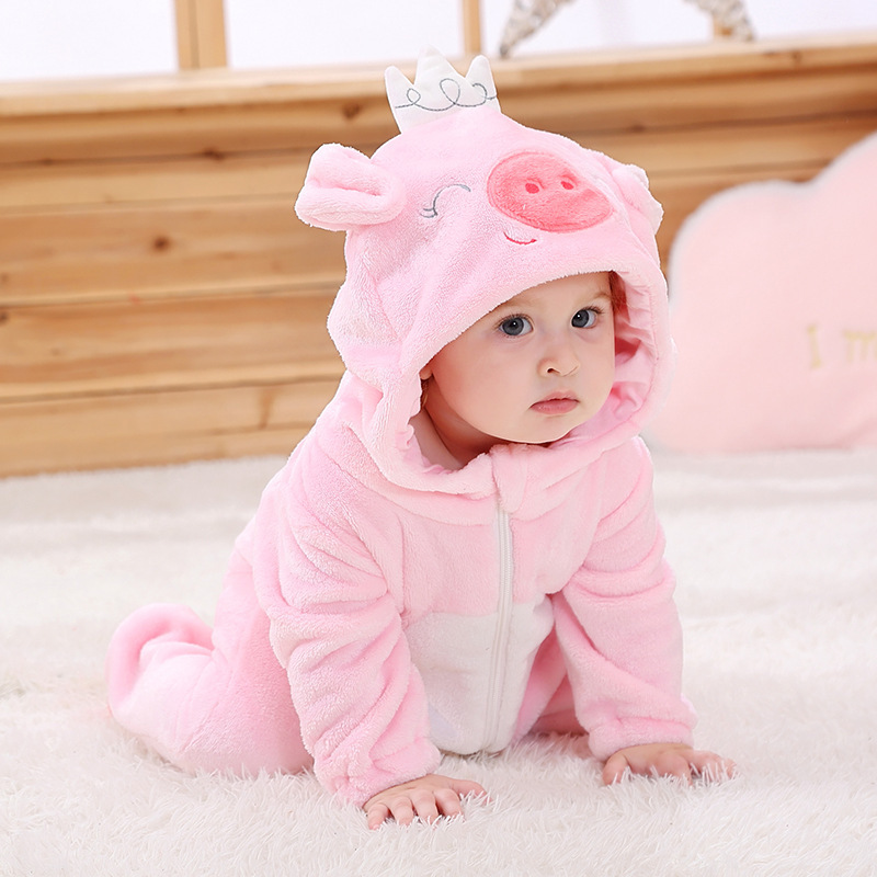 Baby Costume Cute Pig Onesies  Animal Cosplay Girls Homewear  Birthday Gift Toddler Suit Winter Soft Warm Flannel Pink Romper
