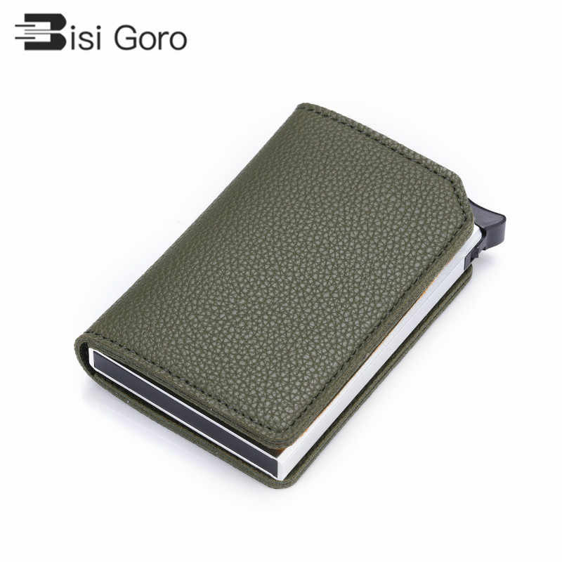 Bisi Goro 2020 Mannen En Vrouwen Unisex Card Case Rfid Pop-Up Clutch Multi Multi Smart Wallet Carbon Fiber anti-Diefstal Kaarthouder