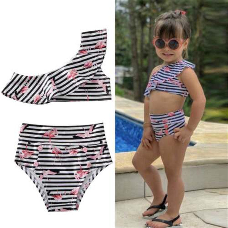 2020 New Infant Baby Girls Off Shoulder Ruffles Bikini Set Cartoon Striped Swimwear Swimsuit High Waist Swimming Sunsuit Clothes