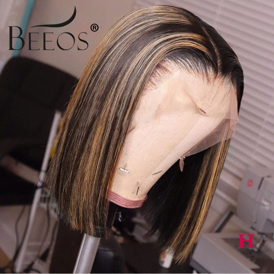 Beeos 150% 13*6 Deep Part Lace Front Human Hair Wig Straight Bob 1B27 Highlight Pre Plucked Brazilian Remy Hair 8