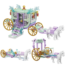 Friends DIY Toys Romantic Princess Carriage Sets with Horse Dolls Building Blocks Toys for Girls Assembling Bricks Kids Gift
