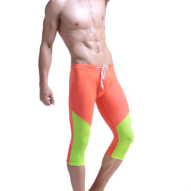 AIBC Men Fitness Pants Swimming Trunks Beach Shorts Quick-Dry Seaside Fitness Capri Pants Genuine Product In Swimming Trunks