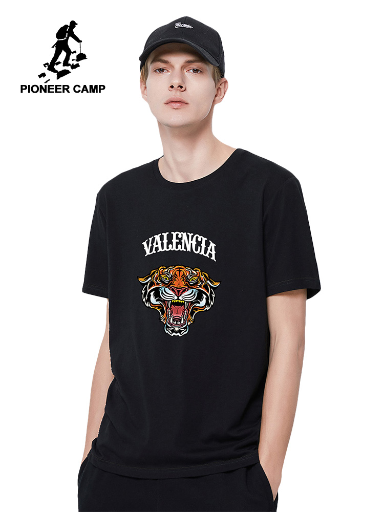 Pioneer Camp New 100% Cotton T-shirts Men Summer Tiger Printed Streetwear Black Blue Gray Tshirts for Male ADT0206029H Men Men's Clothings Men's Tee Men's Tops cb5feb1b7314637725a2e7: black|Blue|gray