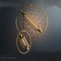 Ijzer Netto Industriële Hanglamp Ronde Ring Schorsing Lamp Eetkamer Hotel Restaurant Bar Cafe Creatieve Opknoping Verlichting Hanglampen    -