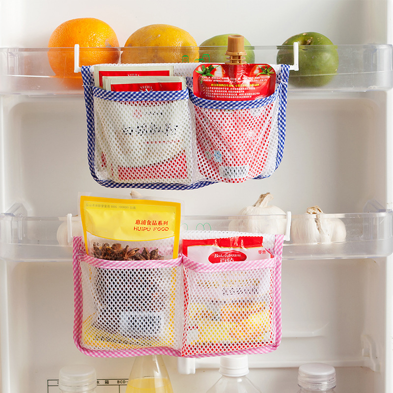 1pcs Kitchen Refrigerator Hanging Storage Bag Food Organizer Kitchen Cabinet Storage Pouch with 2 Hooks Reusable Mesh Bags