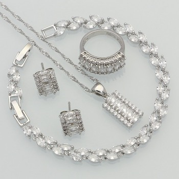 925 Silver Jewelry White Australian Crystal Jewelry Sets for Women Wedding Bracelets/Necklace/Pendant/Earrings/Ring 925 silver jewelry white australian crystal jewelry sets for women wedding bracelets necklace pendant earrings ring