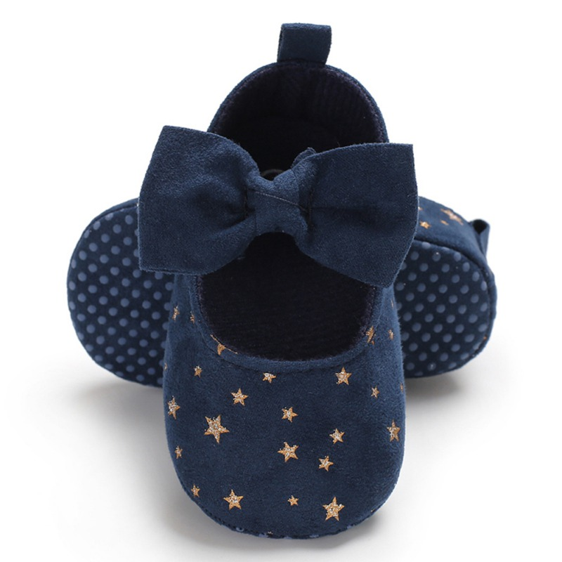 Newborn Baby Girl Flower Sneakers Toddler Cotton Bow Casual Shoes Infant Little Girls Princess Sequin Stars Leather Shoes 0-18Mo