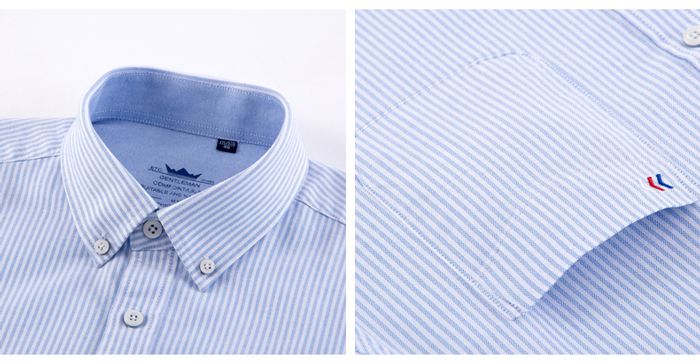 H65365edf0714464e9d75edca4391c4efu - Men's Casual 100% Cotton Oxford Striped Shirt Single Patch Pocket Long Sleeve Standard-fit Comfortable Thick Button-down Shirts
